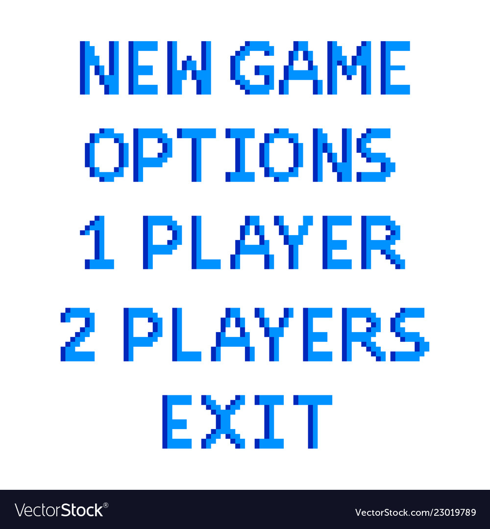 Pixel game menu options text detailed isolated