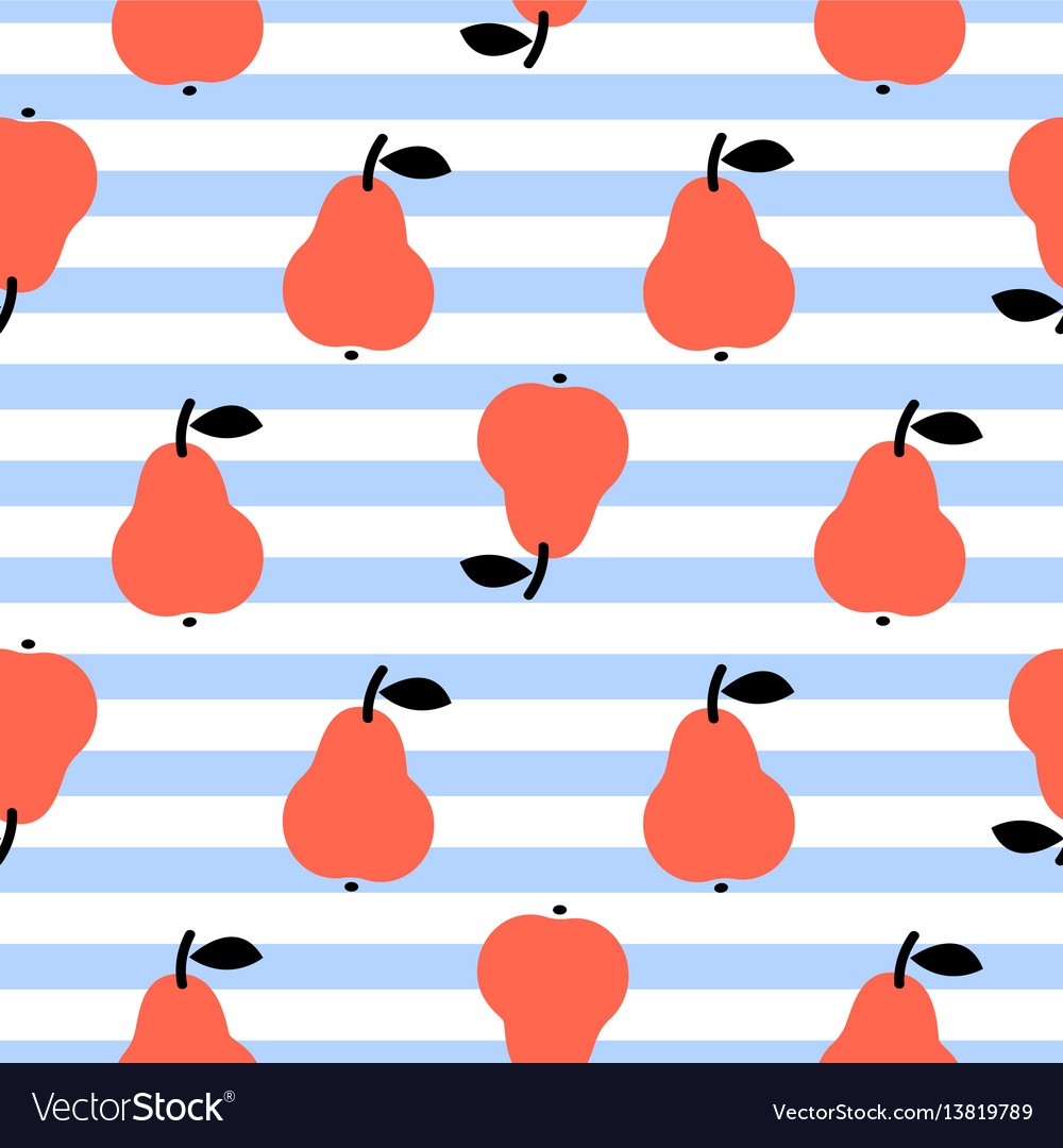 Red pear seamless blue striped pattern on white vector image