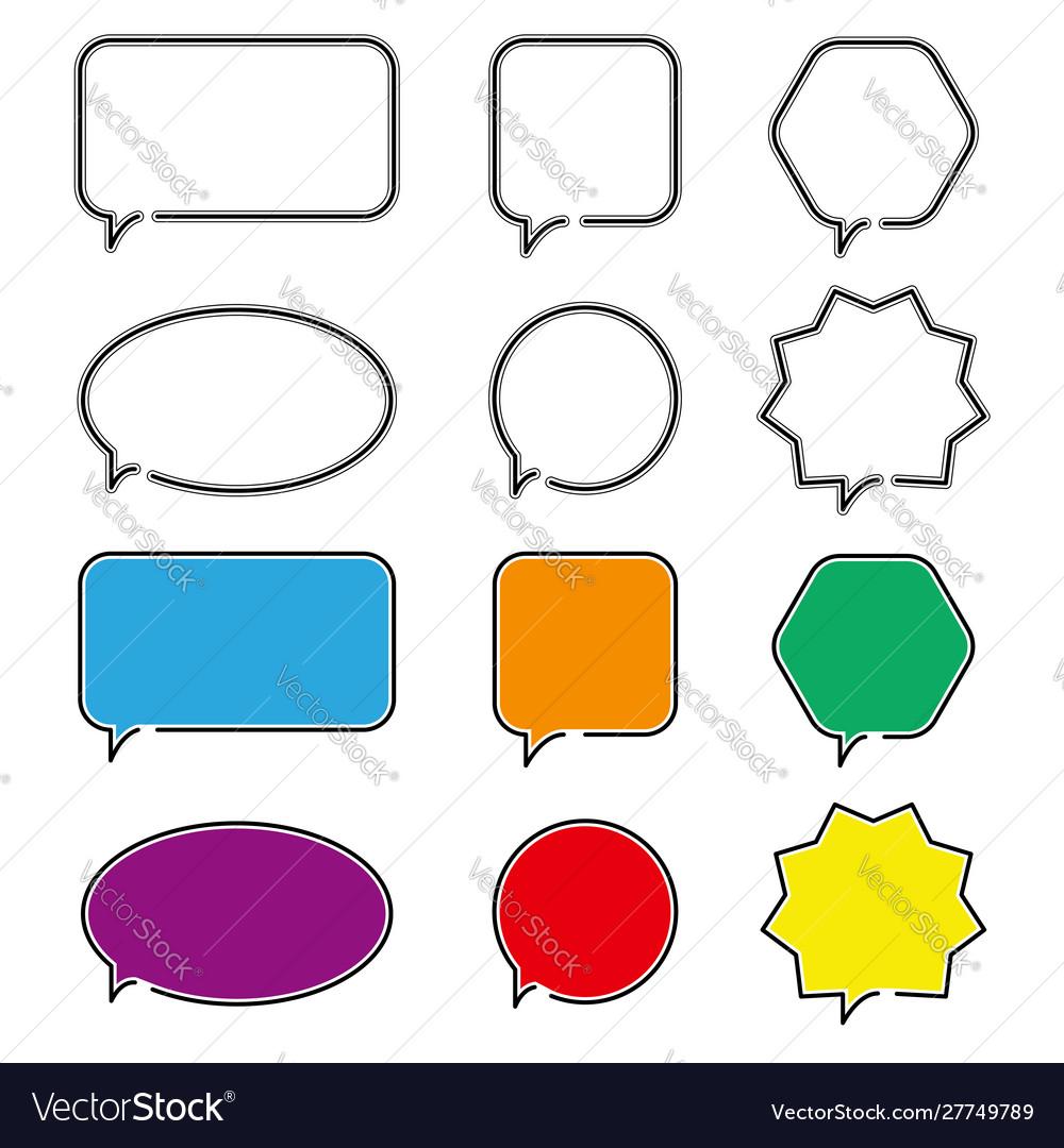 Speech bubble icons outline symbol for web design
