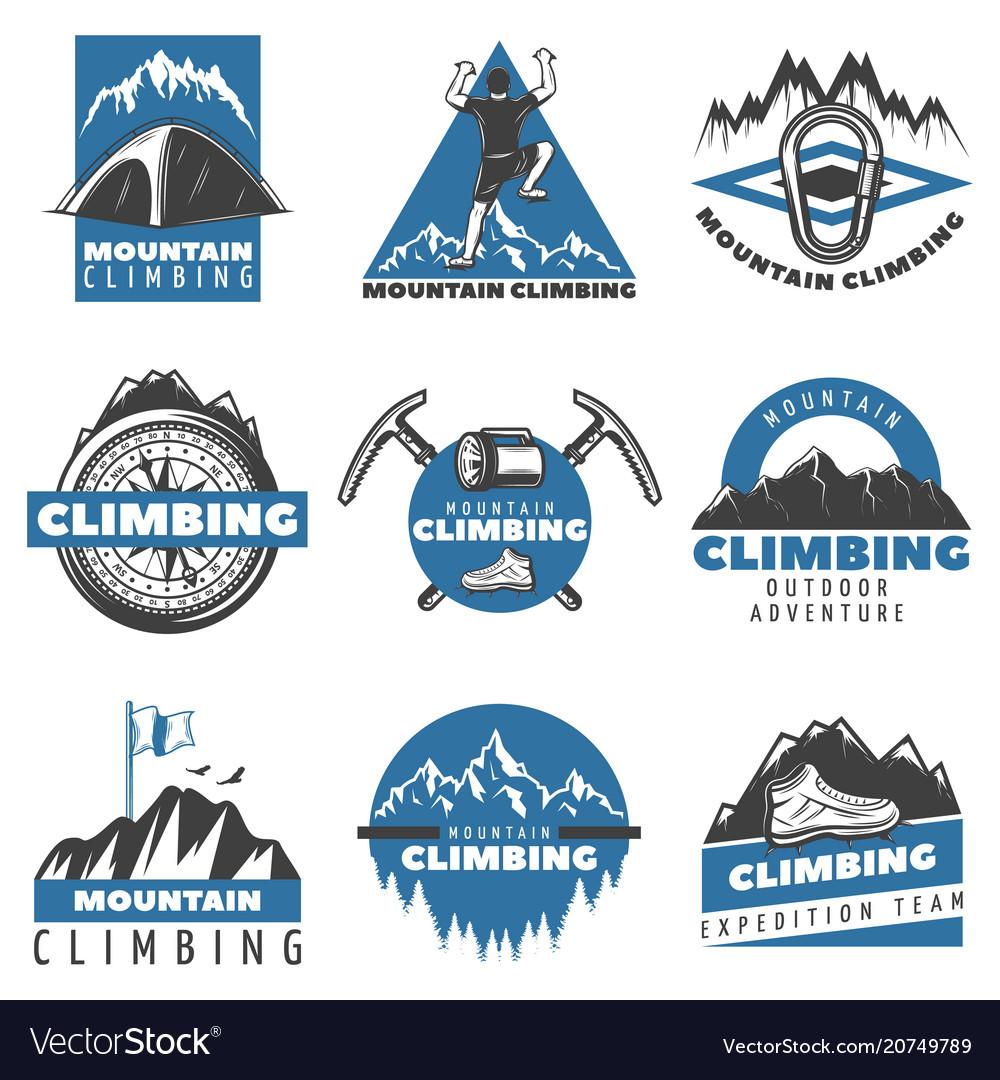 Vintage colored mountain climbing labels set