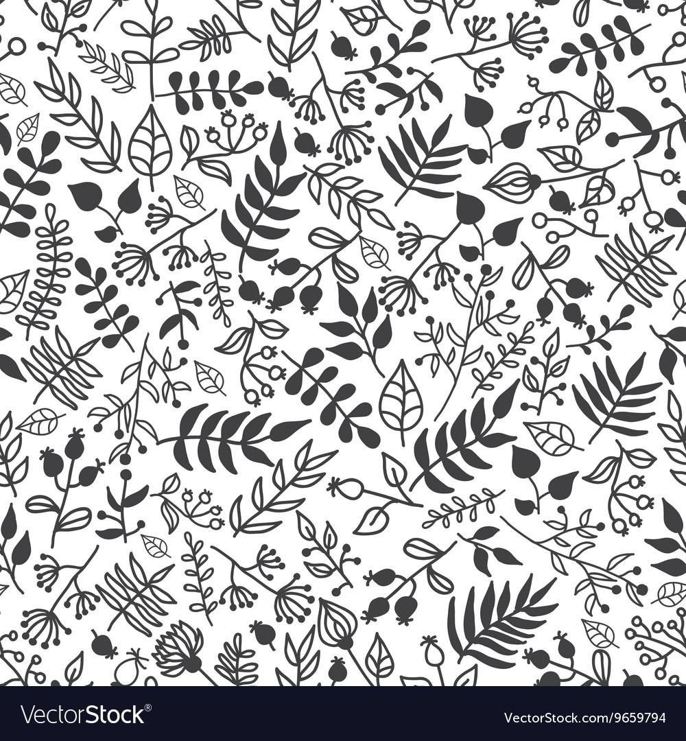 Doodle rustic floral pattern