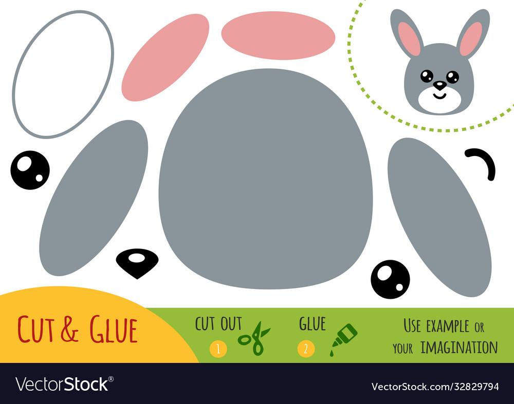 Education paper game for children rabbit