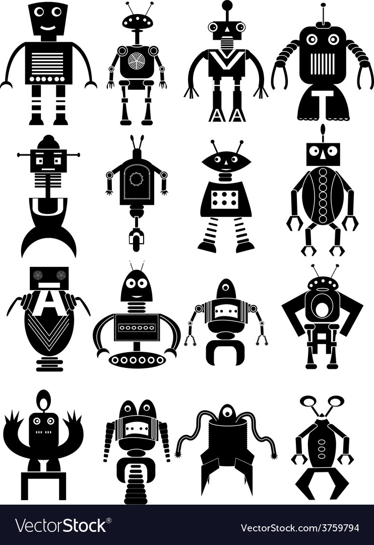 Funny robot icons set