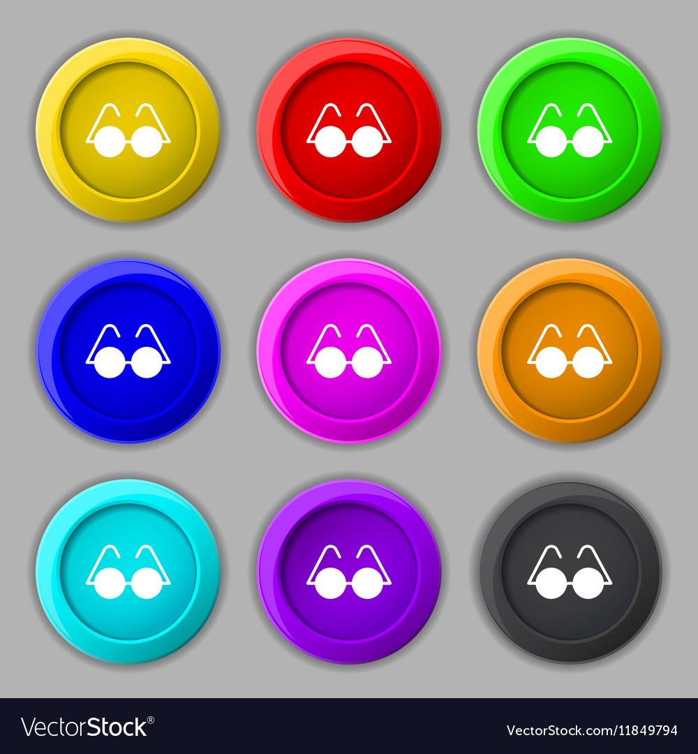 Glasses icon sign symbol on nine round colourful