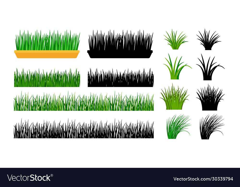 Green grass gardening elements