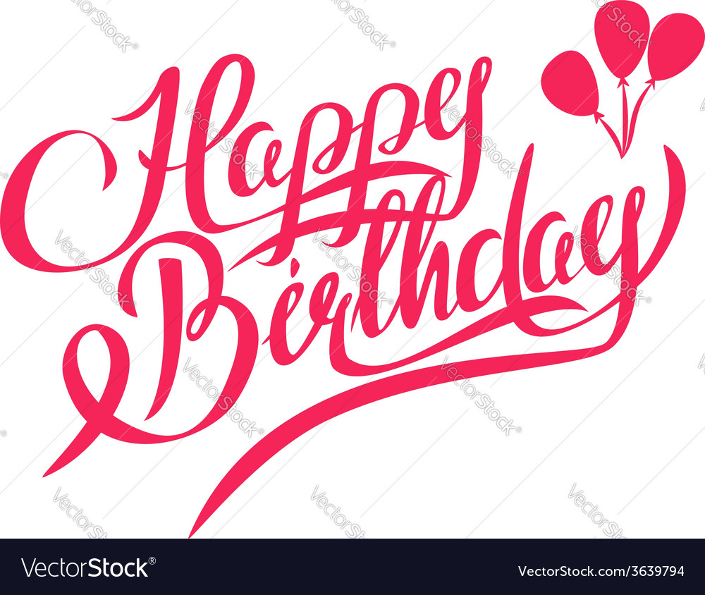 Happy Birthday Lettering Design Element Vector Image