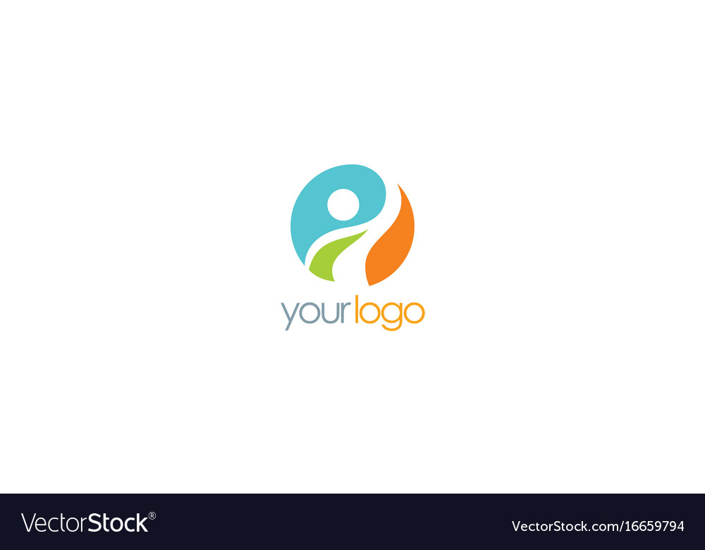 Happy man round logo