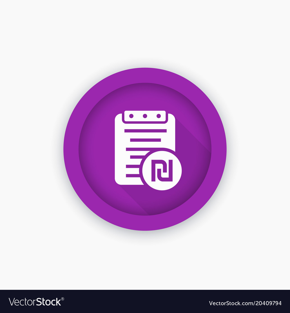 Payroll icon round pictogram with shekel sign