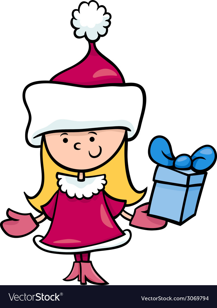 Santa claus girl cartoon