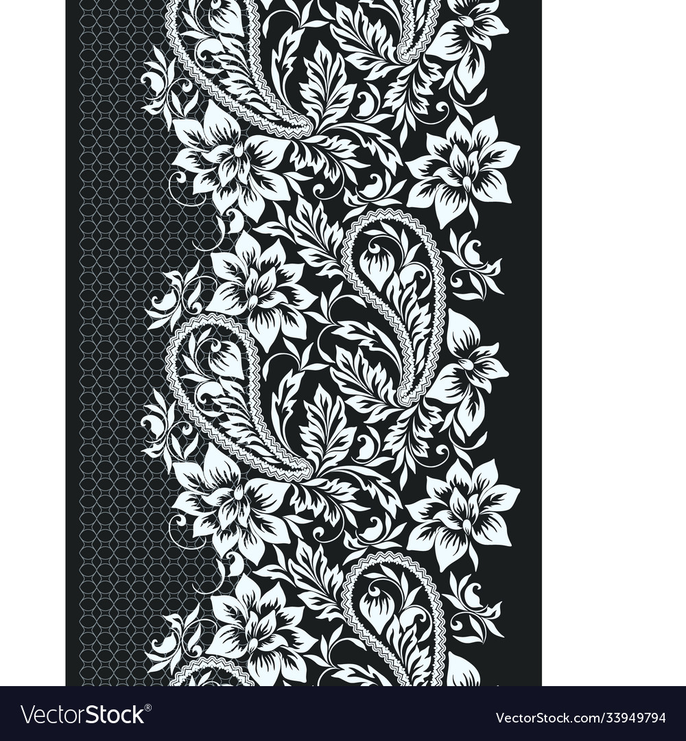 Seamless black and white lace border