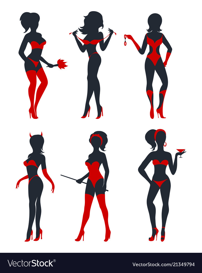Sexy woman silhouettes set