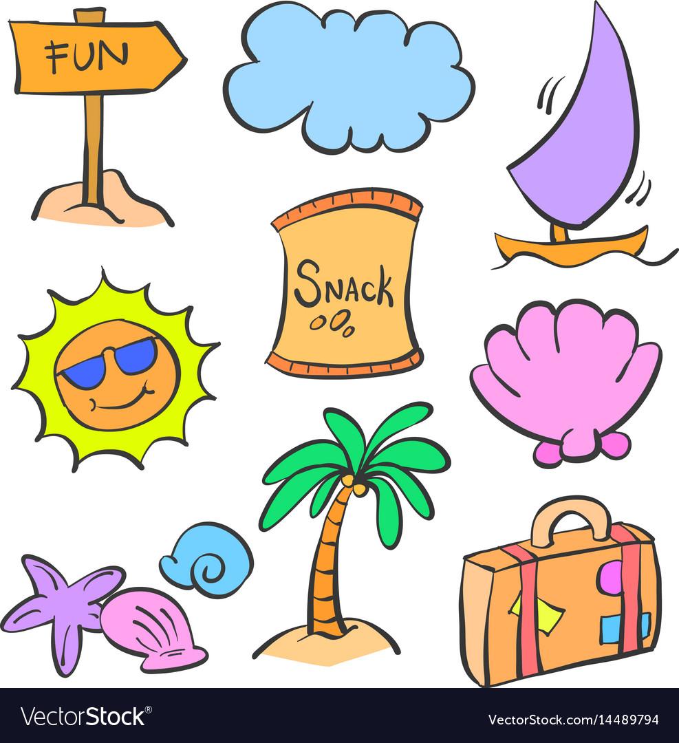 Summer element cartoon doodle set