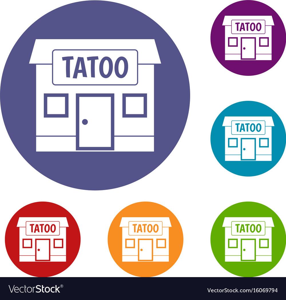 Tattoo salon building icons set
