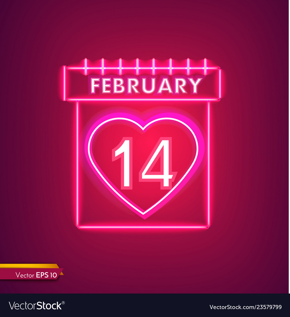 14 february calendar in neon light valentine day