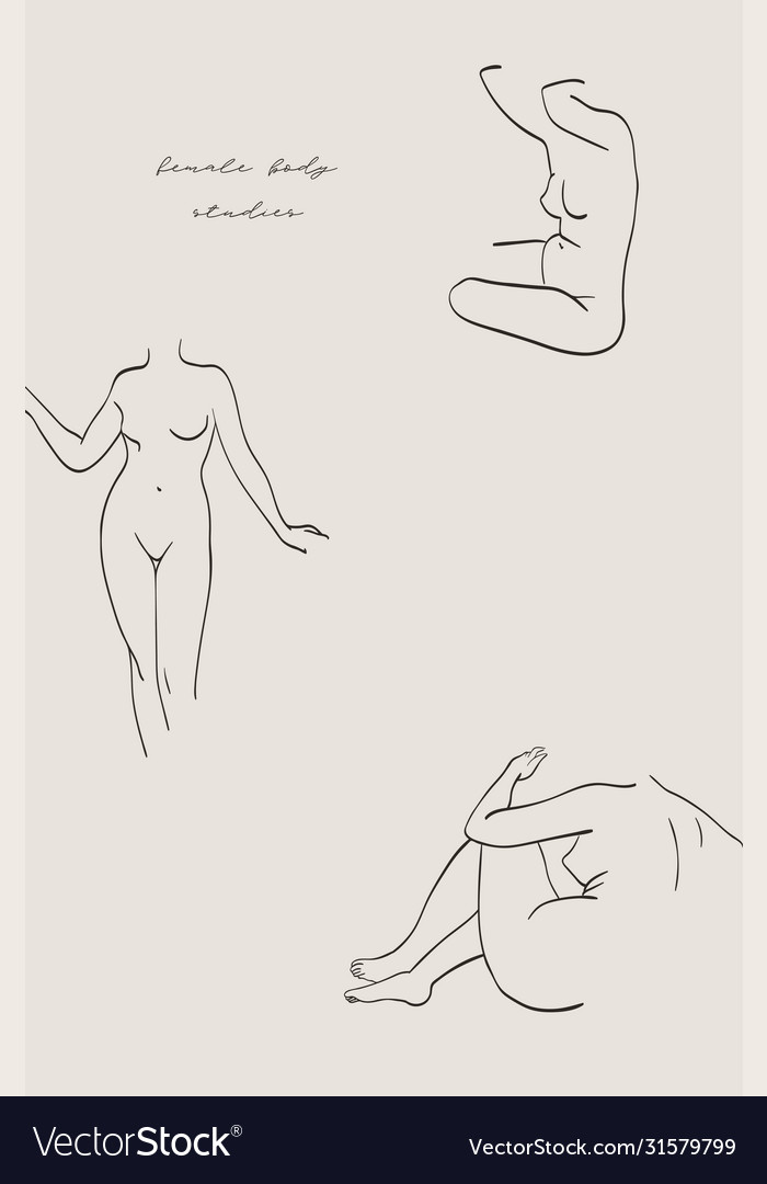 Abstract modern female line art shapes