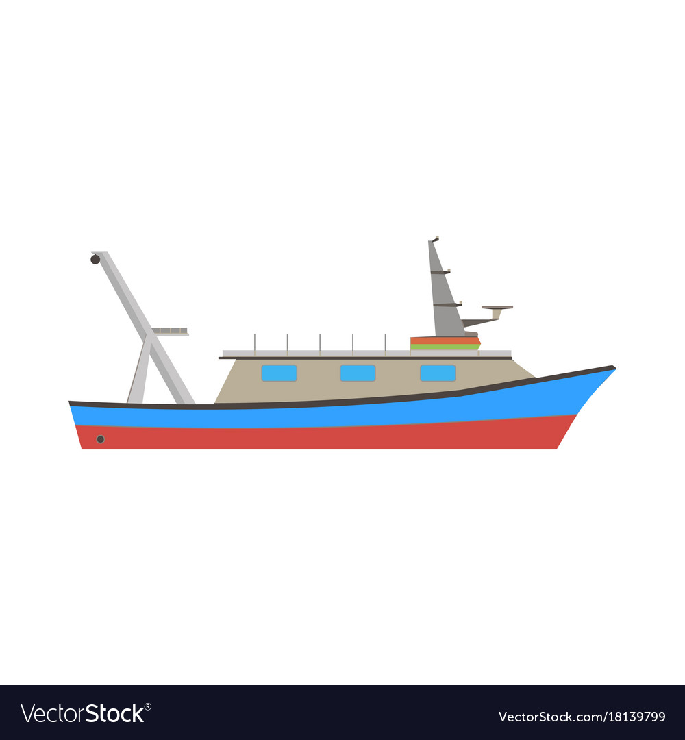 Boat fishing fish sea ship marine flat icon