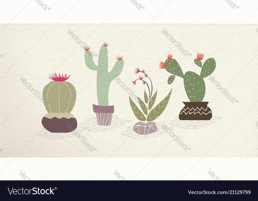 Cactus mexican art plant decoration set
