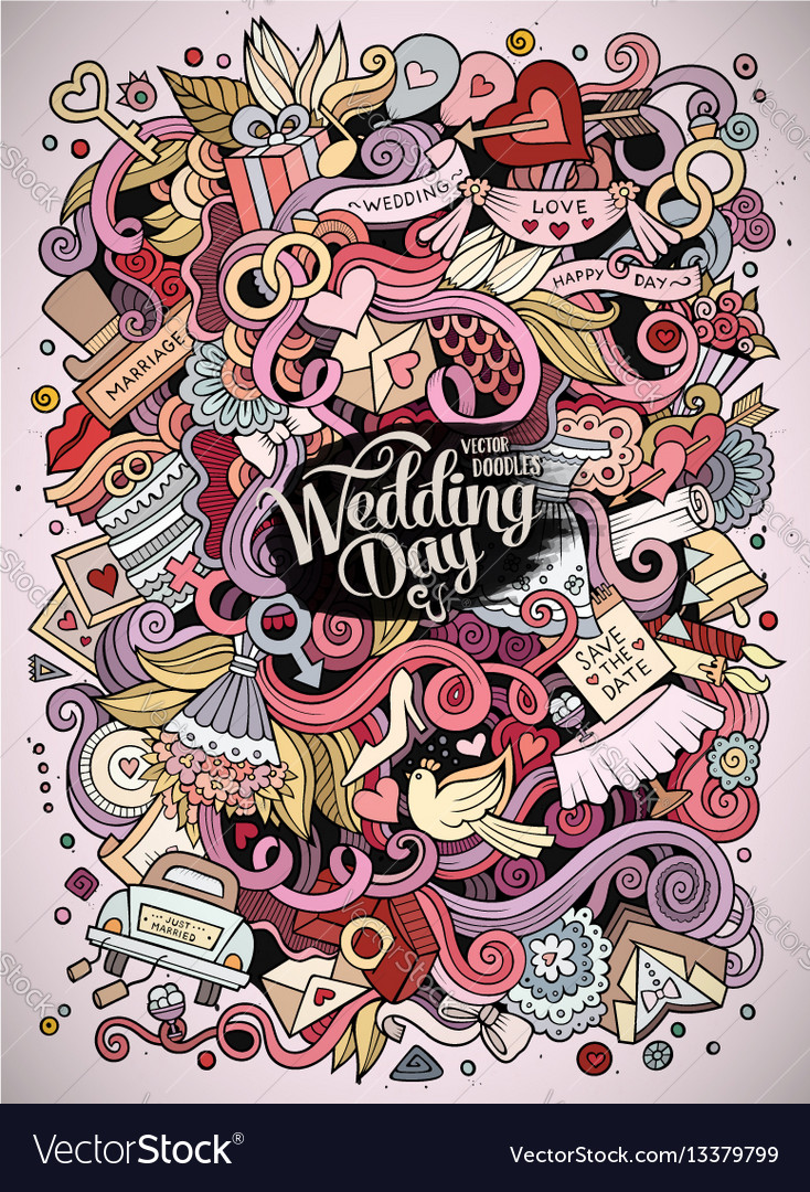 Cartoon cute doodles hand drawn wedding vector image