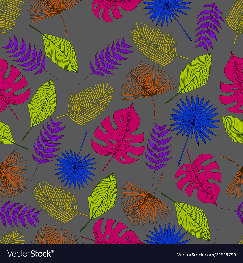 Colorful tropical palm leaf seamless pattern grey