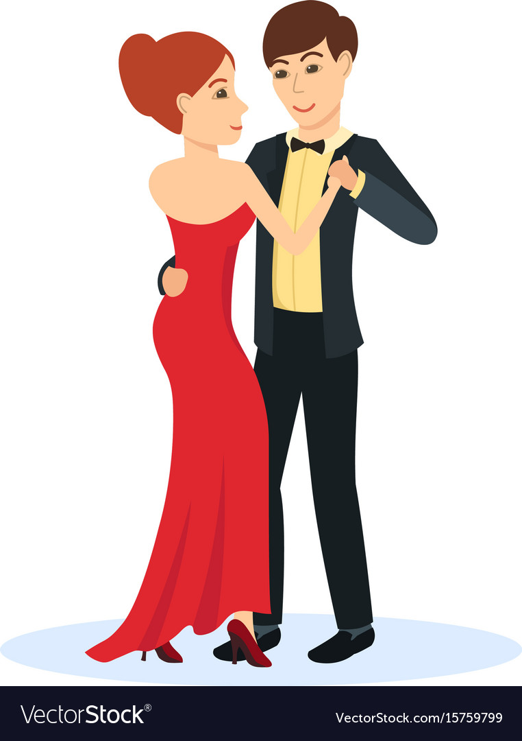 Couple in evening clothes dance gentle dance