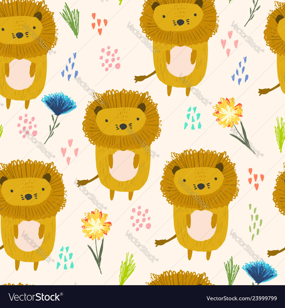 Cute cartoon pattern with lions dots and flowers