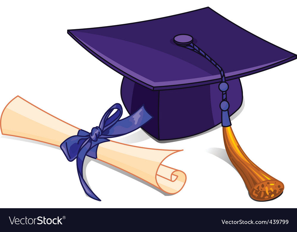 graduation cap and diploma royalty free vector image rh vectorstock com graduation-cap-diploma-clipart graduation hat and diploma clipart