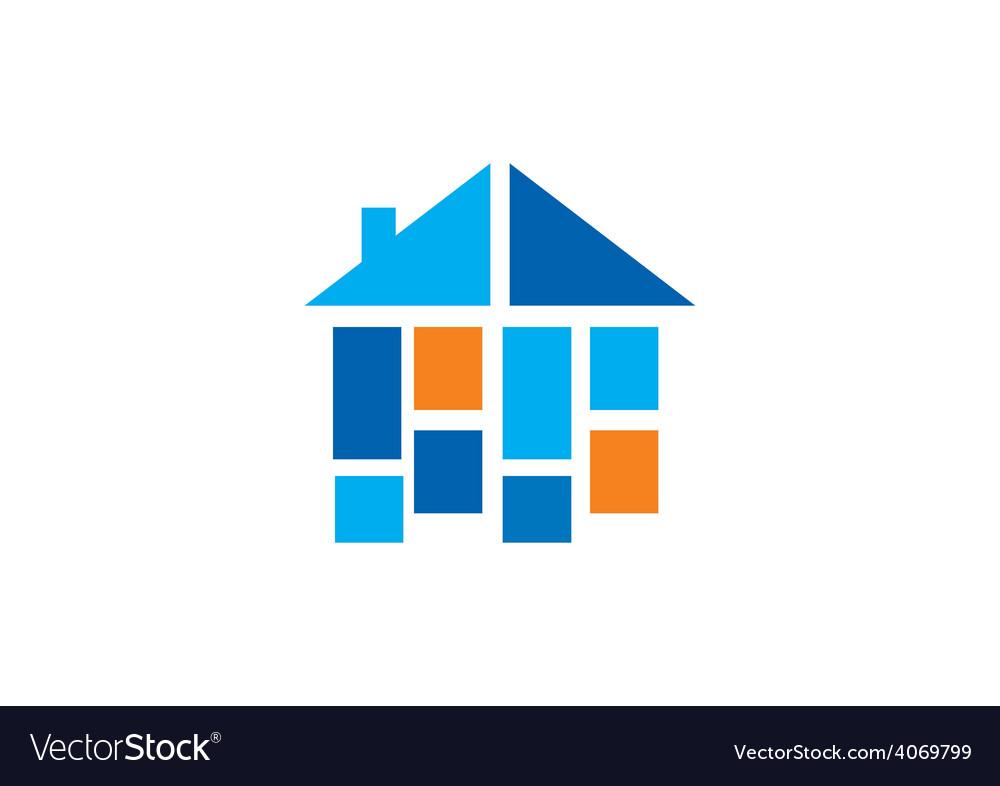 Home construction shape interior logo