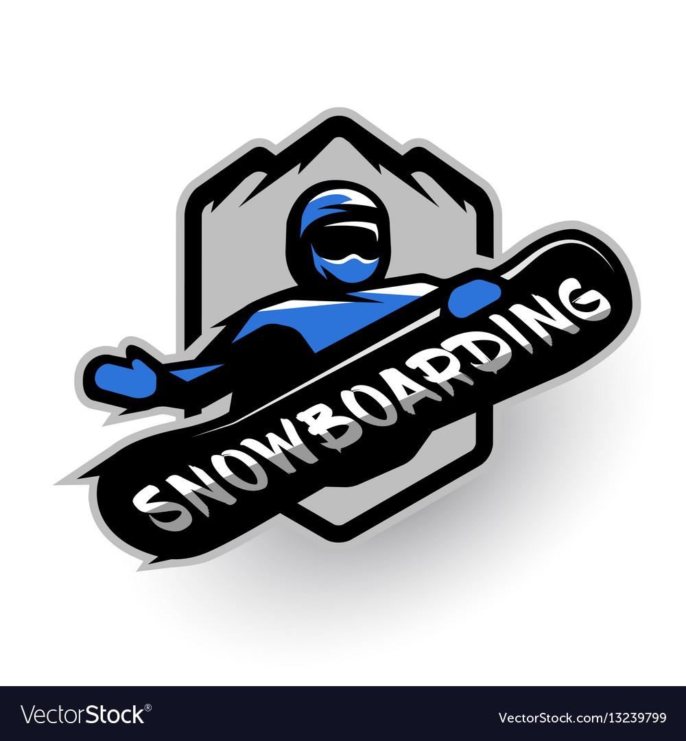 2d479b1b1e1c Jumping snowboarder sport logo Royalty Free Vector Image