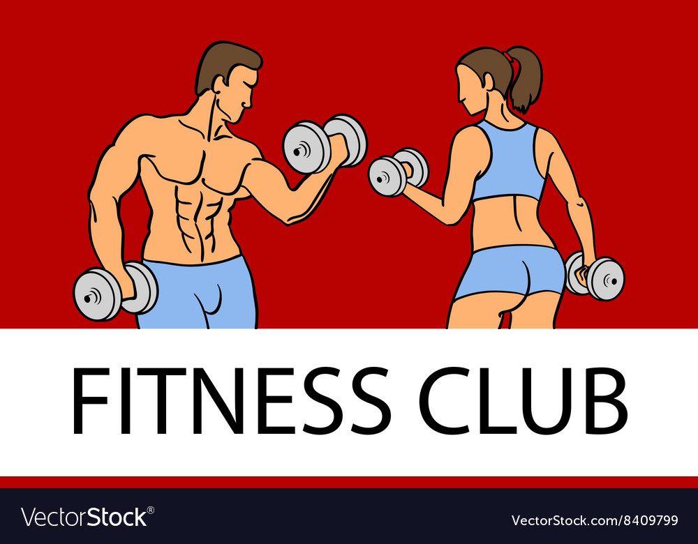 Man and woman Fitness template Gym club logotype