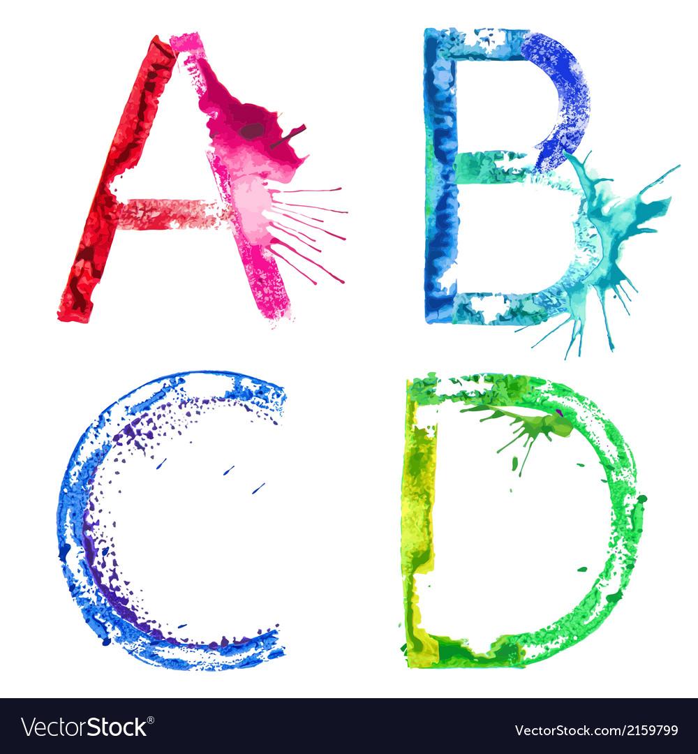 Paint splash font ABCD