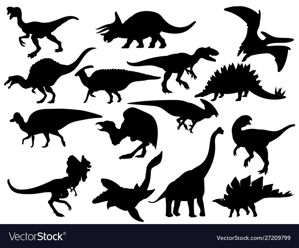 Set dinosaur silhouettes collection extinct