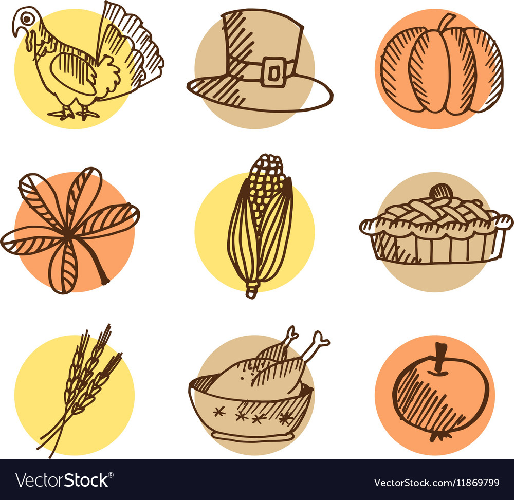 Set of thanksgiving hand drawn icons isolated
