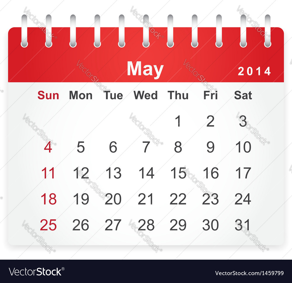 Stylish calendar page for May 2014 vector image