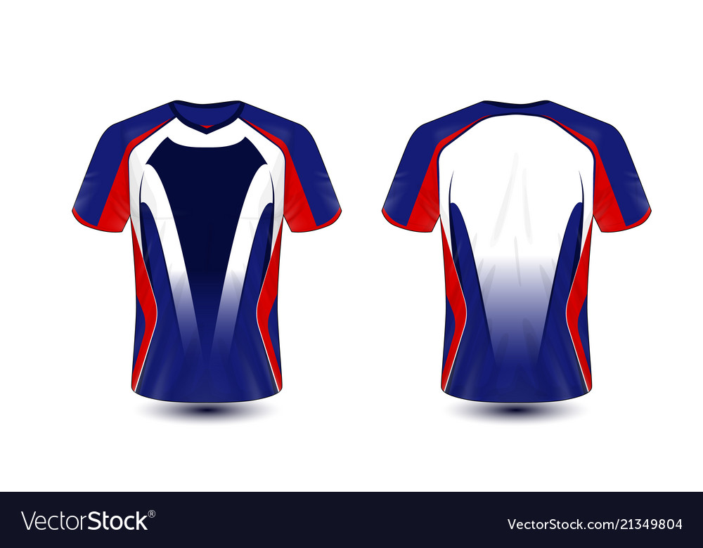 0bc212d1 Blue red and black layout e-sport t-shirt design Vector Image