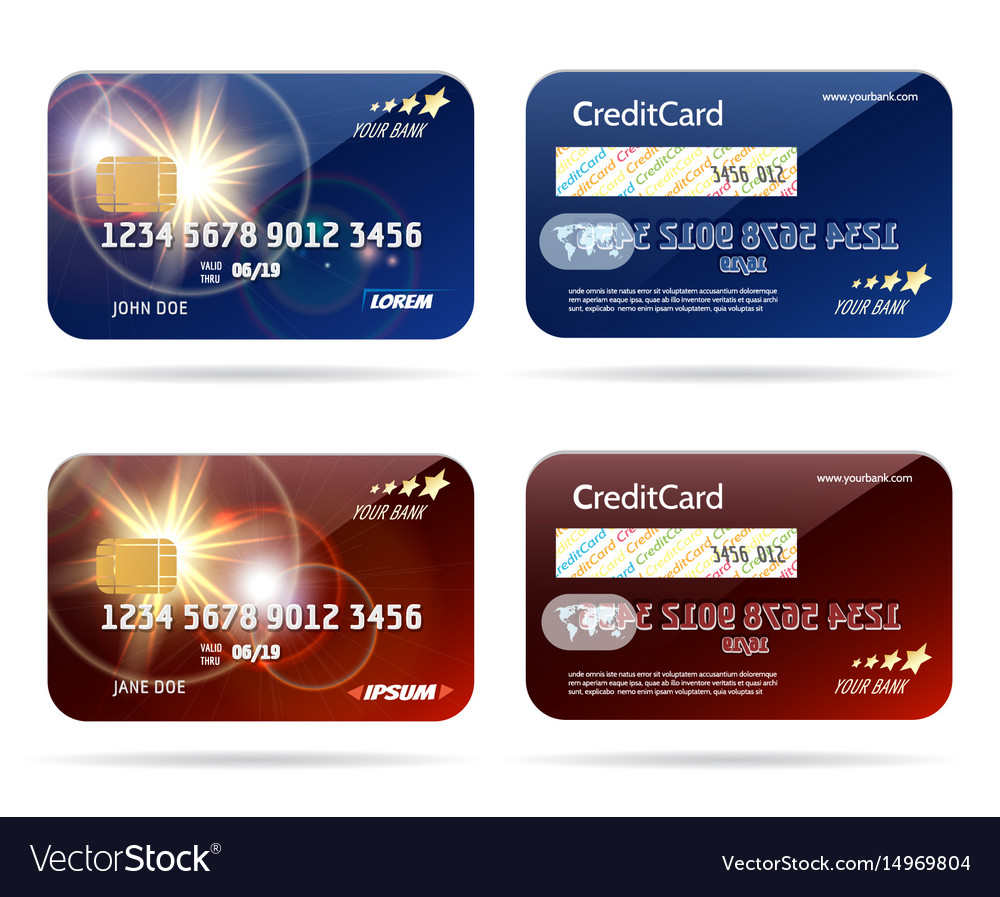 Credit card with chip icons