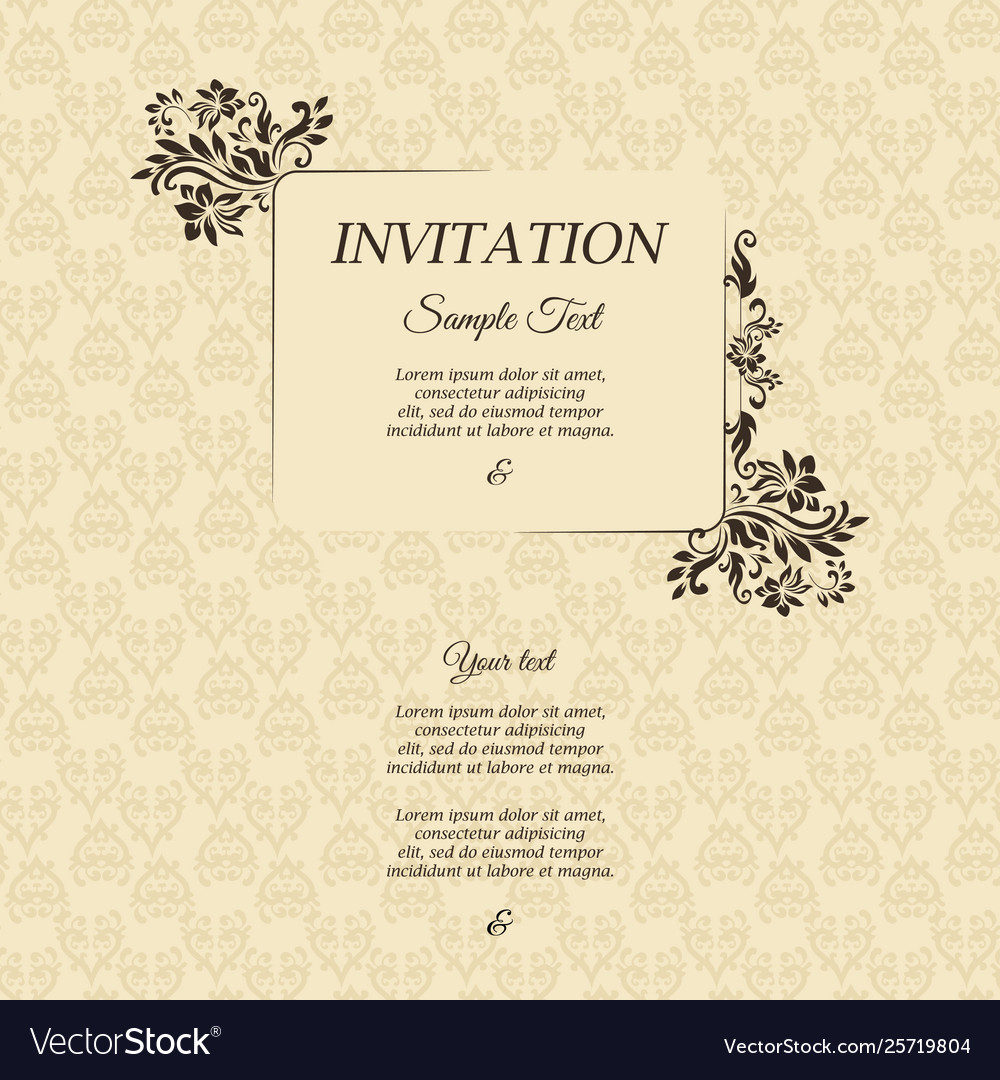 Invitation Card In An Old Style Brown Color