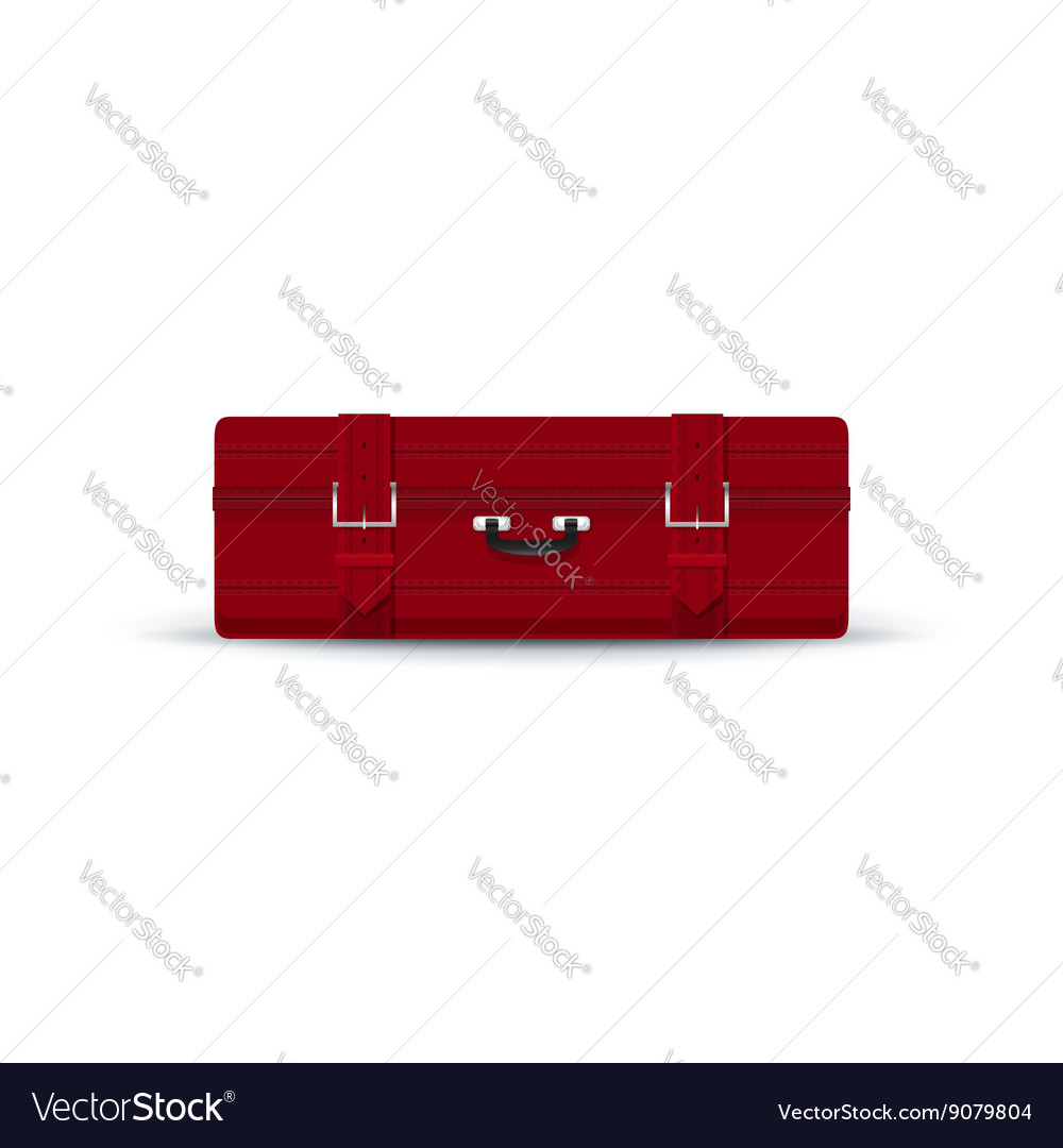 Retro Red Suitcase Isolated on White