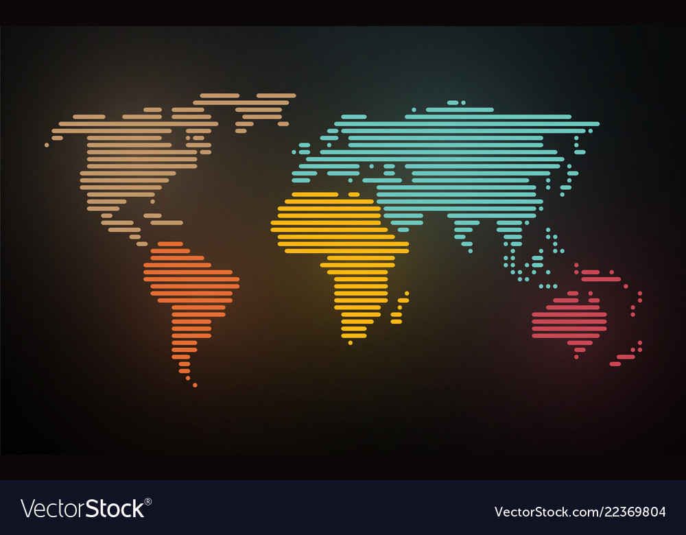 Simple map of the world created lines on blurred