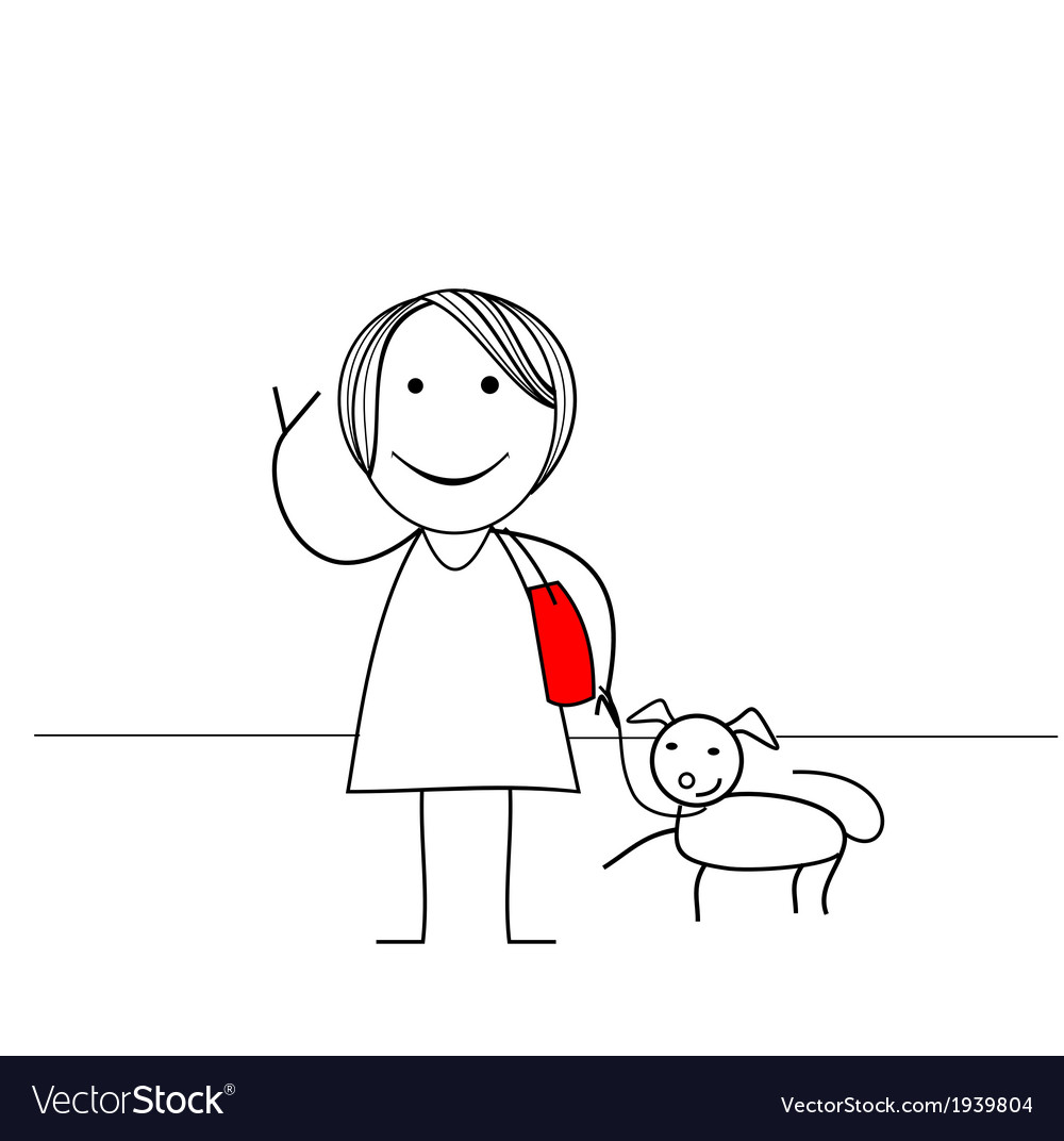 Stick figure girl with dog