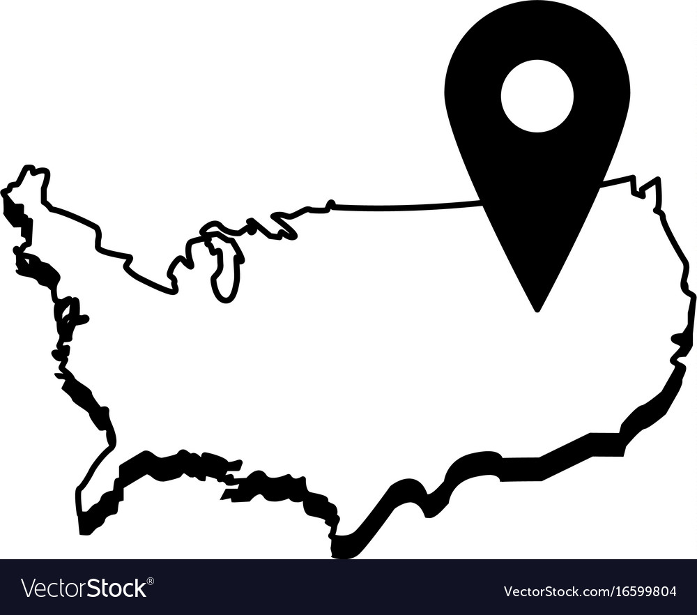 Usa map outline with gps pin icon image Royalty Free Vector