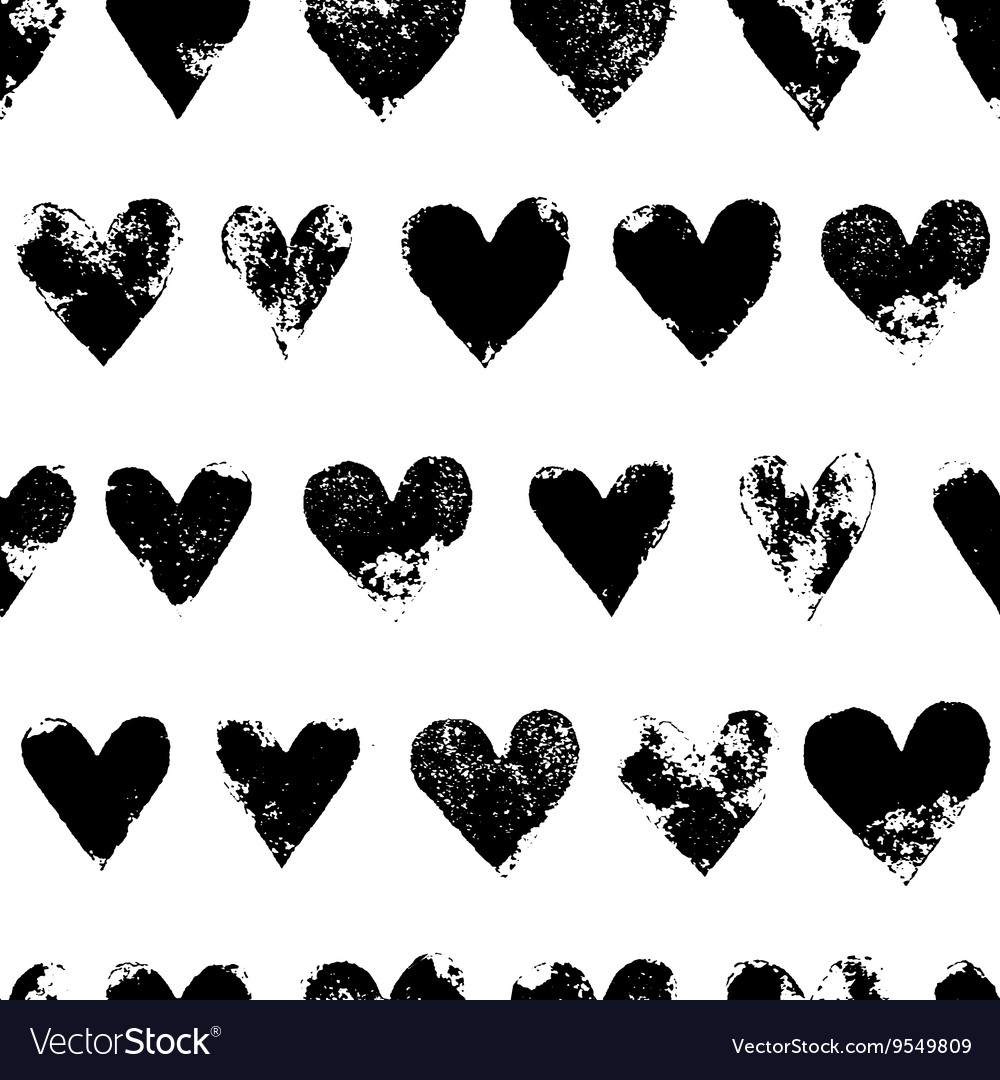 Black and white grunge hearts print seamless