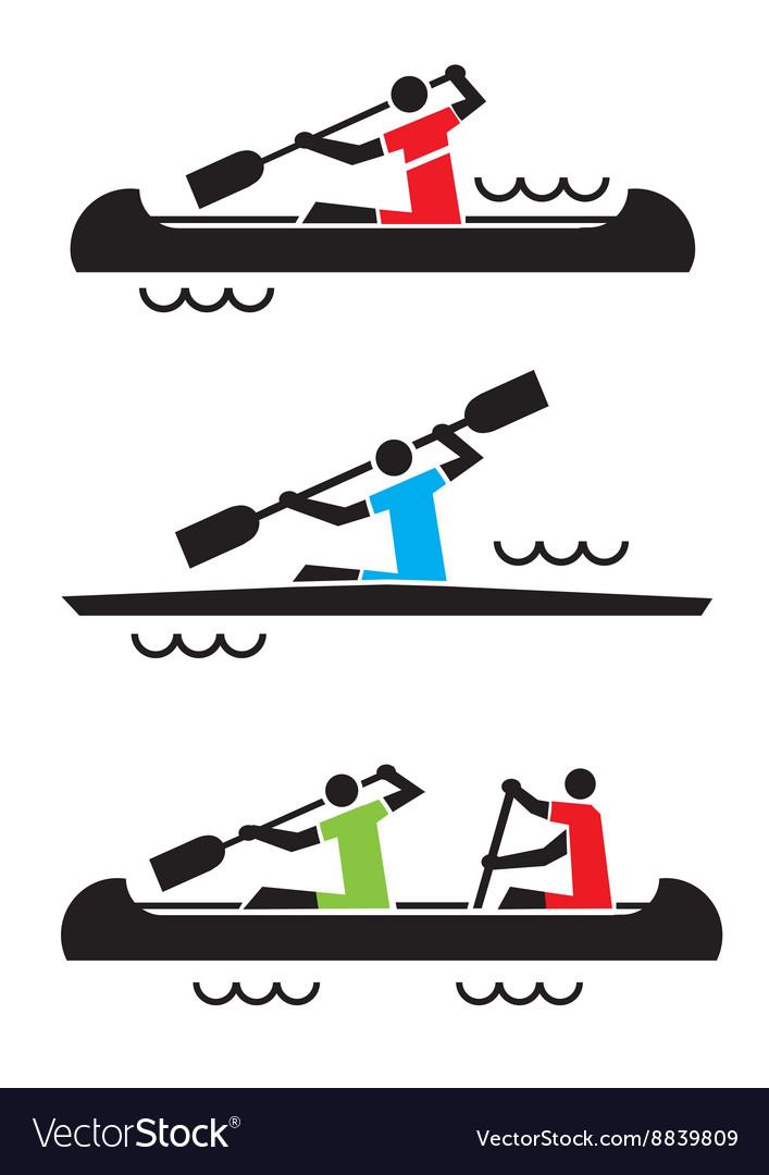 Canoe kayak icons
