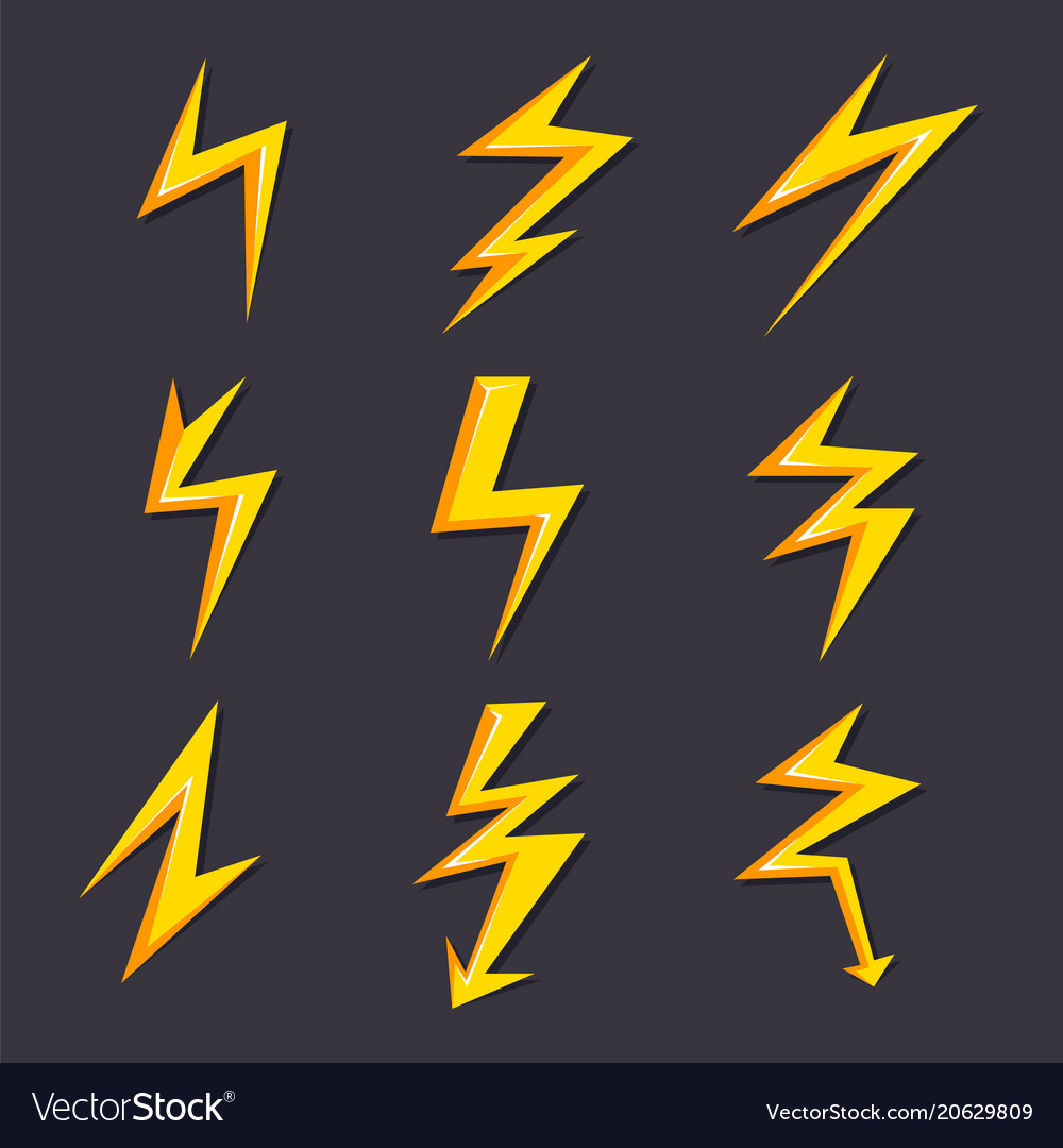 Cartoon of lightning set vector image