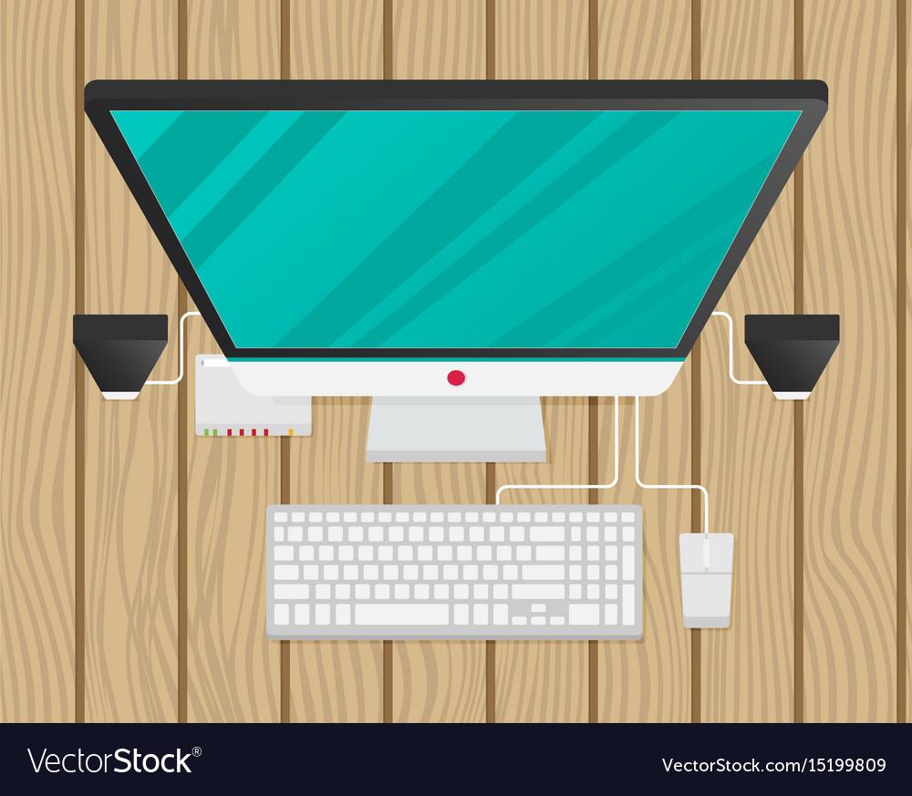 Desktop personal computer top view vector image