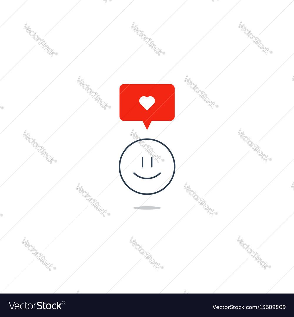 Empathy concept smile emoji love feeling passion