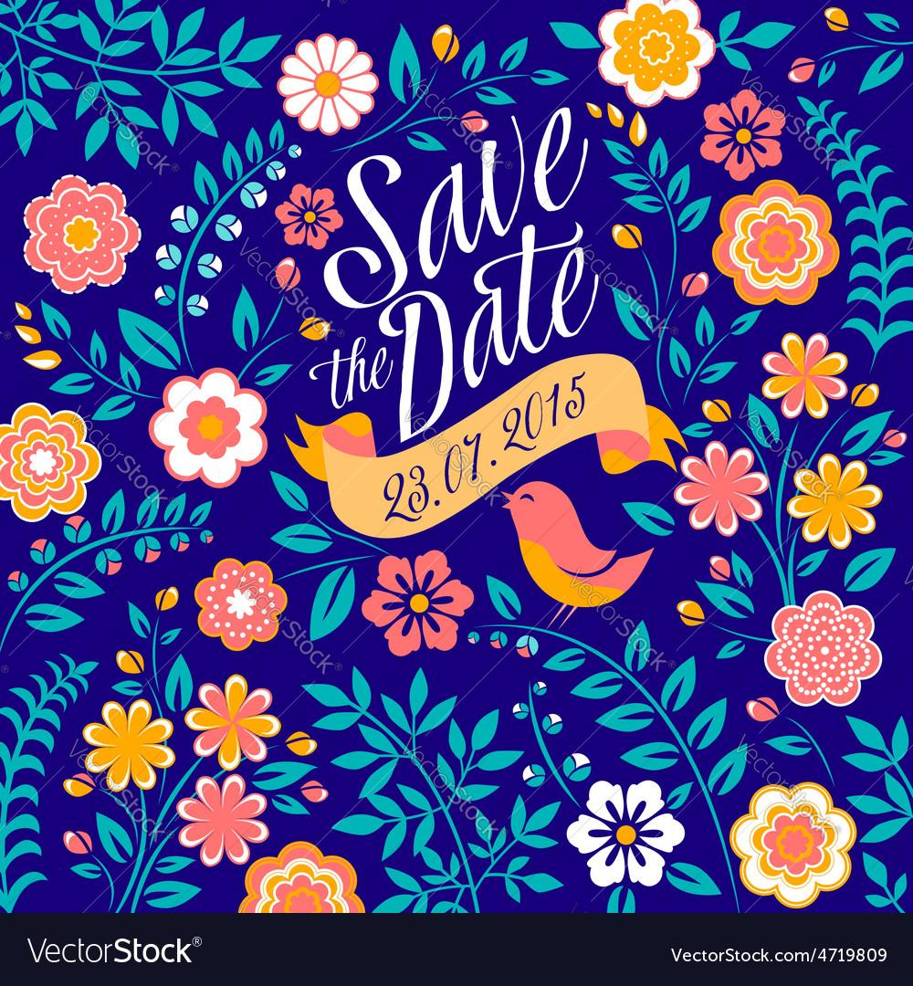 Flower wedding invitation card save the date