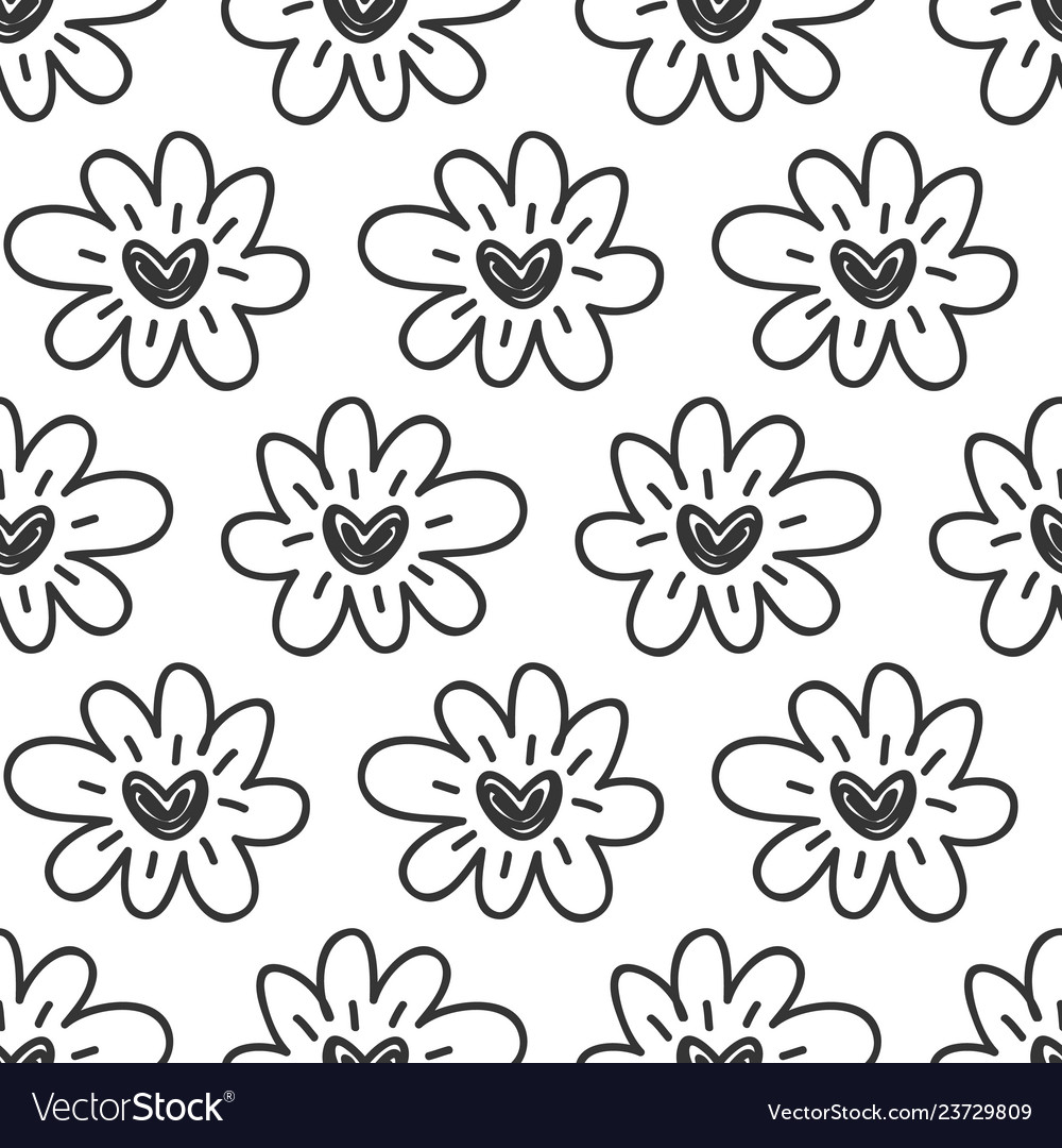 Hand drawn flowers hearts seamless pattern