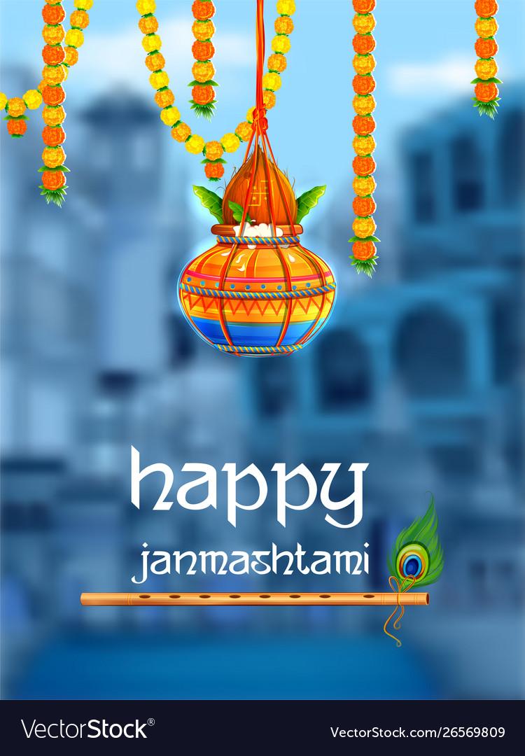 Happy Janmashtami Festival Background India Vector Image