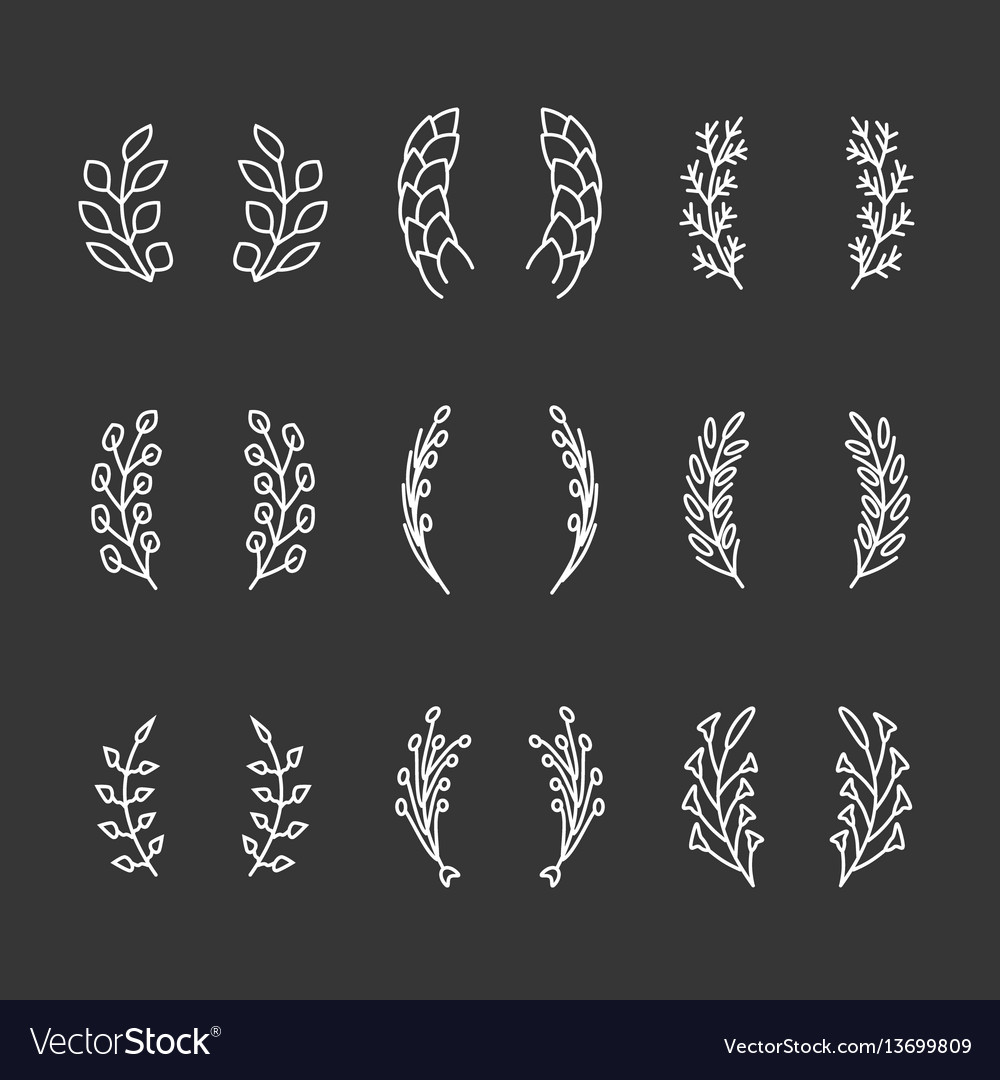 Laurel wreaths thin line icons
