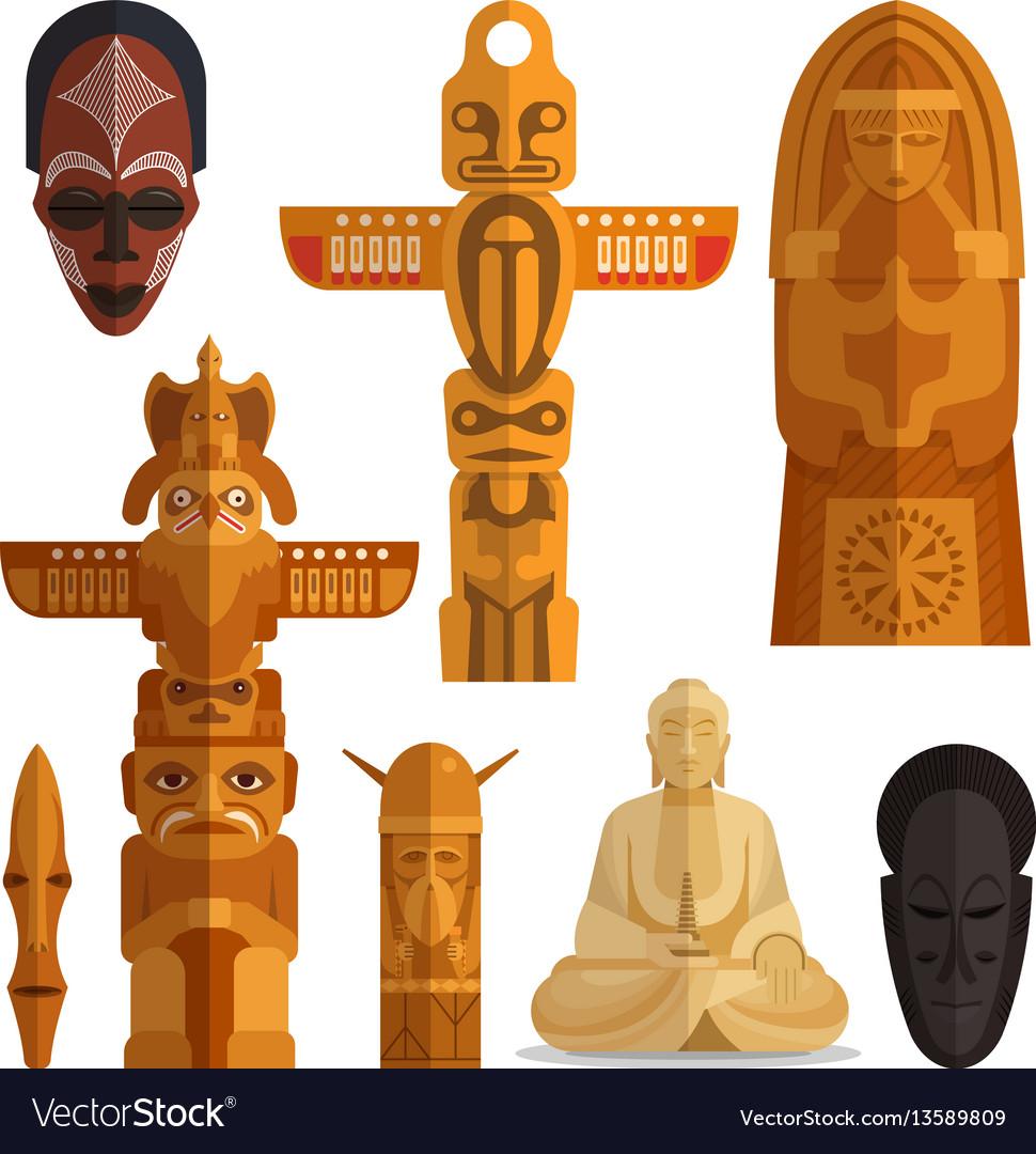 Set idols flat symbols isolated on white
